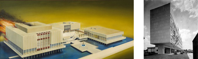 Left: The Los Angeles County Museum of Art (painting by Ed Ruscha) Right: Le Corbusier's Swiss Pavillion in Paris