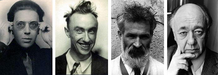 Left to right: Andre Breton, Yves Tanguy, Constantin Brancusi, Eugene Ionesco