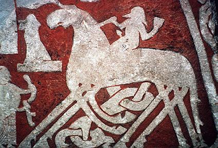 An early stone depiction of Odin on his eight-legged horse, Sleipnir