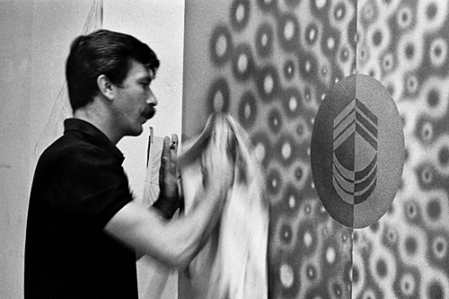 Artist Billy Al Bengston polishing a work in the mid-nineteen sixties.