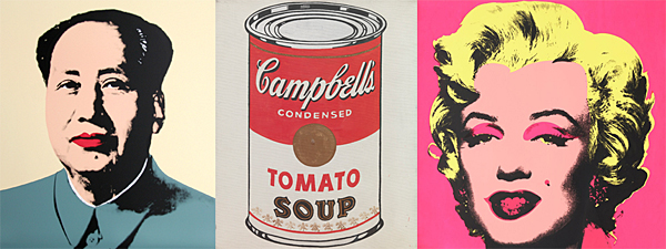 Three iconic Warhol images: Chairman Mao, Campbell's Tomato Soup, and Marilyn Monroe