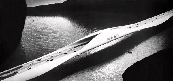 "Paolo Soleri's ""Long Span Concrete Bridge"" - also in the 1960 exhibition."
