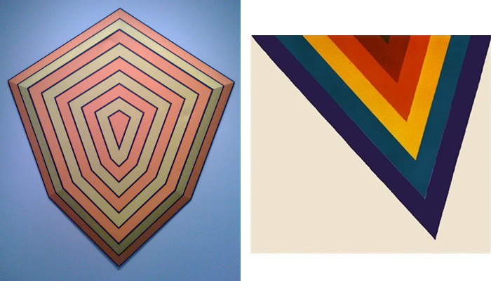 """Left: Nick Boisvert's It Hurts So Bad I Could Care Right: One of Kenneith Nolan's """"Chevrons""""."""