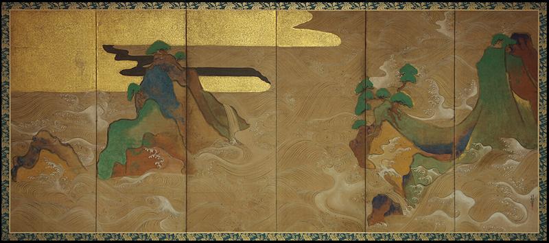 """""""Waves at Matsushima""""Tawaraya Sotatsu"""