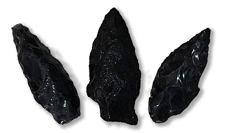 Obsidian arrowheads collected by Kurt on the banks of the Napa River.