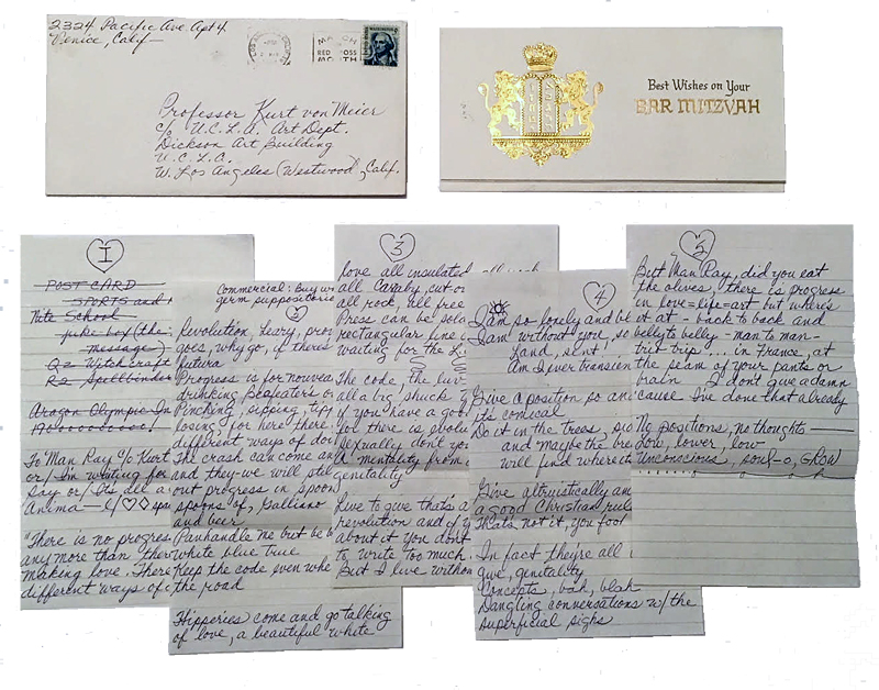 """This is the """"Man Ray"""" letter, enclosed in an embossed Bar Mitzvah envelope typically used for checks or cash."""