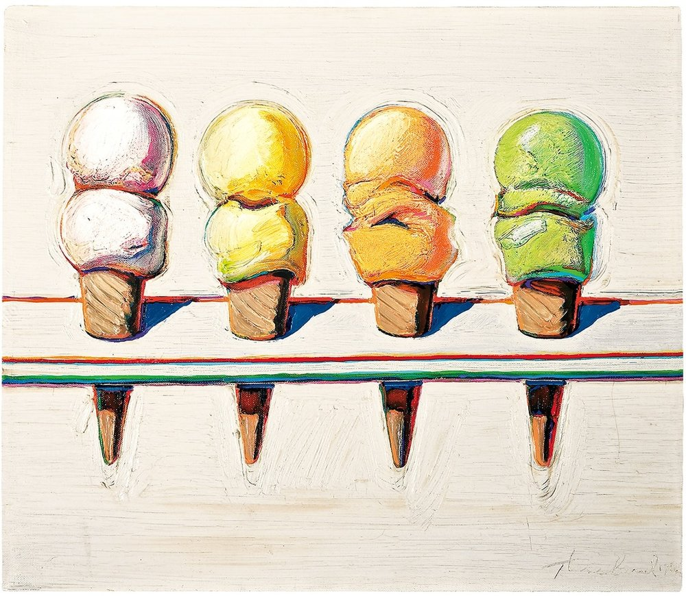 Four Cones  by artist Wayne Thiebaud.