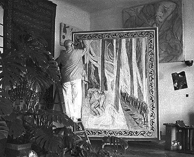 Varian Fry's photograph of Matisse at work on a painting (1941).