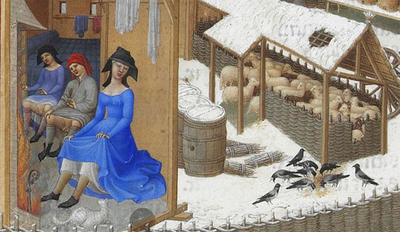 Detail from the illustration for February in the  Tres Riches Heures du Duc de Berry .