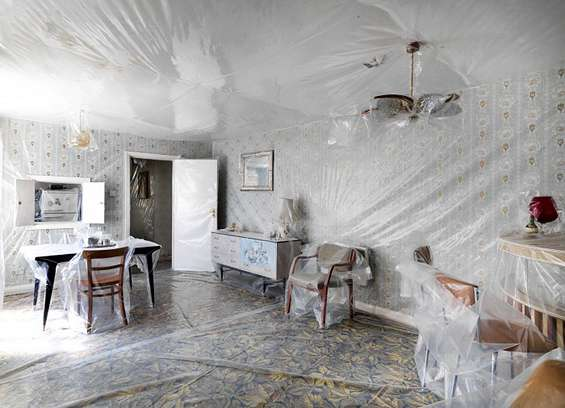 An example of Iain Baxter's plastic-wrapped objects in a plastic-wrapped room.
