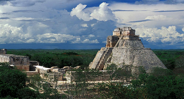 Mayan ruins in the ancient city of Uxmal in the Yucatan