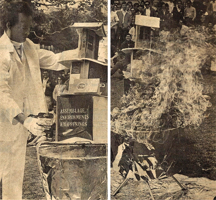 Kurt setting a tower of books ablaze as part of the Experimental Arts Festival at UCLA in 1967
