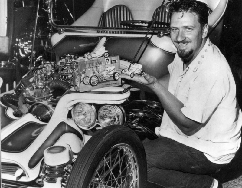 """Ed """"Big Daddy"""" Roth with one of his Hot Rods and model-making kit"""