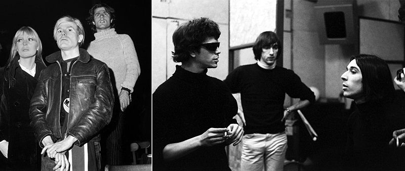 Left to right: Nico, Andy Warhol, Gerard Malanga, Lou Reed and John Cale (far right)