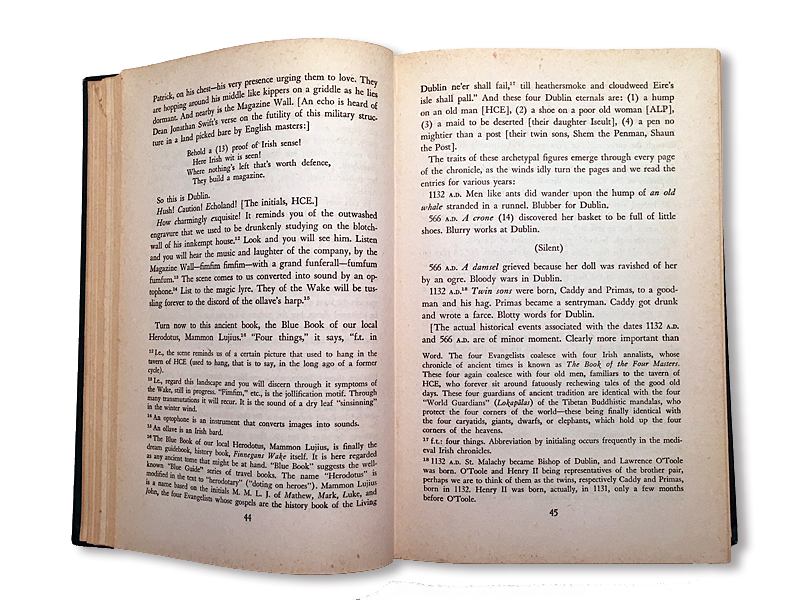 Pages 44 and 45 of  A Skeleton Key to Finnegans Wake , showing footnote number 16