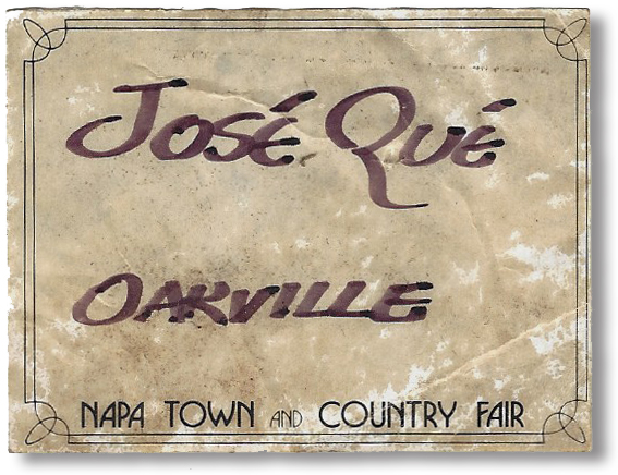 Here's the Jose Que name tag Kurt used during the contest; it's in his own inimitable handwriting.