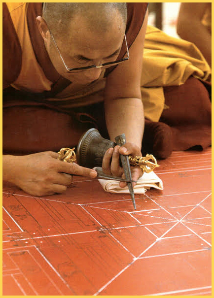 H.H. the Dalai Lama lays the first sand line in the construction of the mandala.