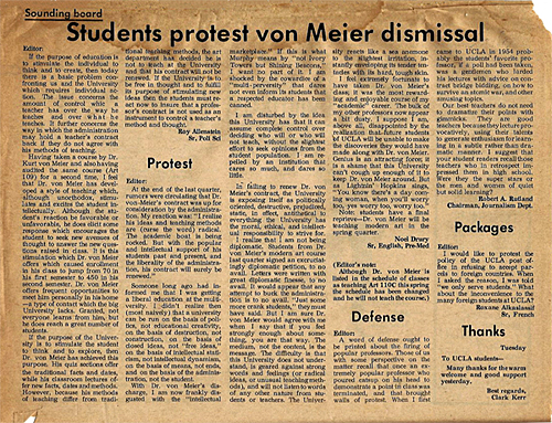 A page from the UCLA  Daily Bruin  with letters supporting Kurt von Meier