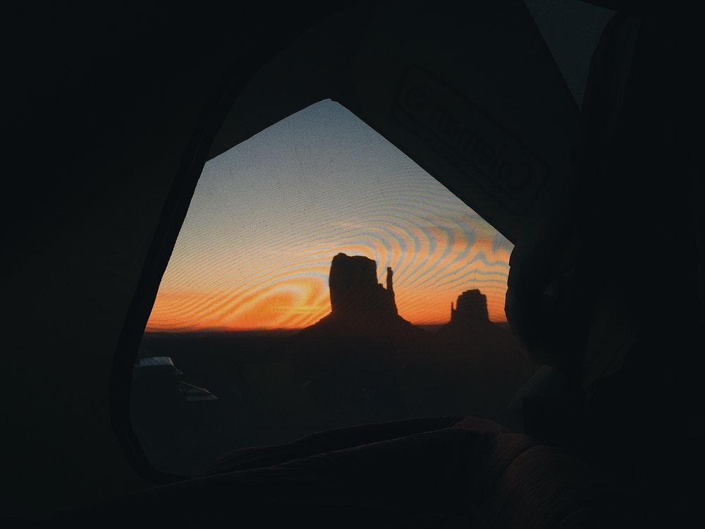 View from our tent of the sun coming up behind the West Mitten Butte. Can you tell yet which place was my favorite? ;)