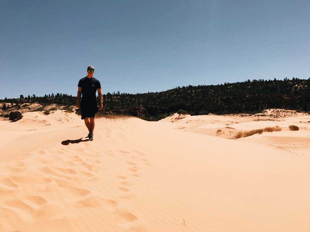 Alec at Coral Sand Dunes State Park. Mt Carmel Junction, UT