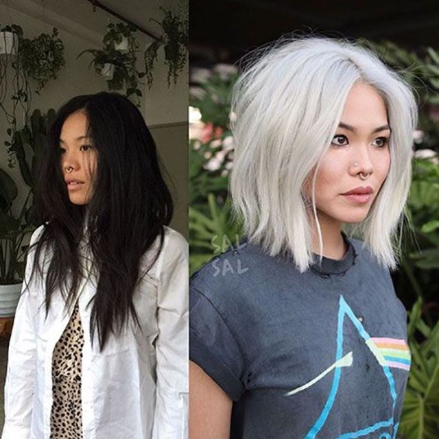 A radical transformation by the talented stylist @salsalhair ✂️ would you change your look like this? #platinumblonde #choppybob #beautytransformation #beforeandafter