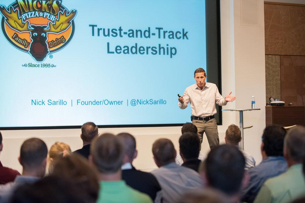 Nick Sarillo speaking on the Trust-and-Track Leadership method