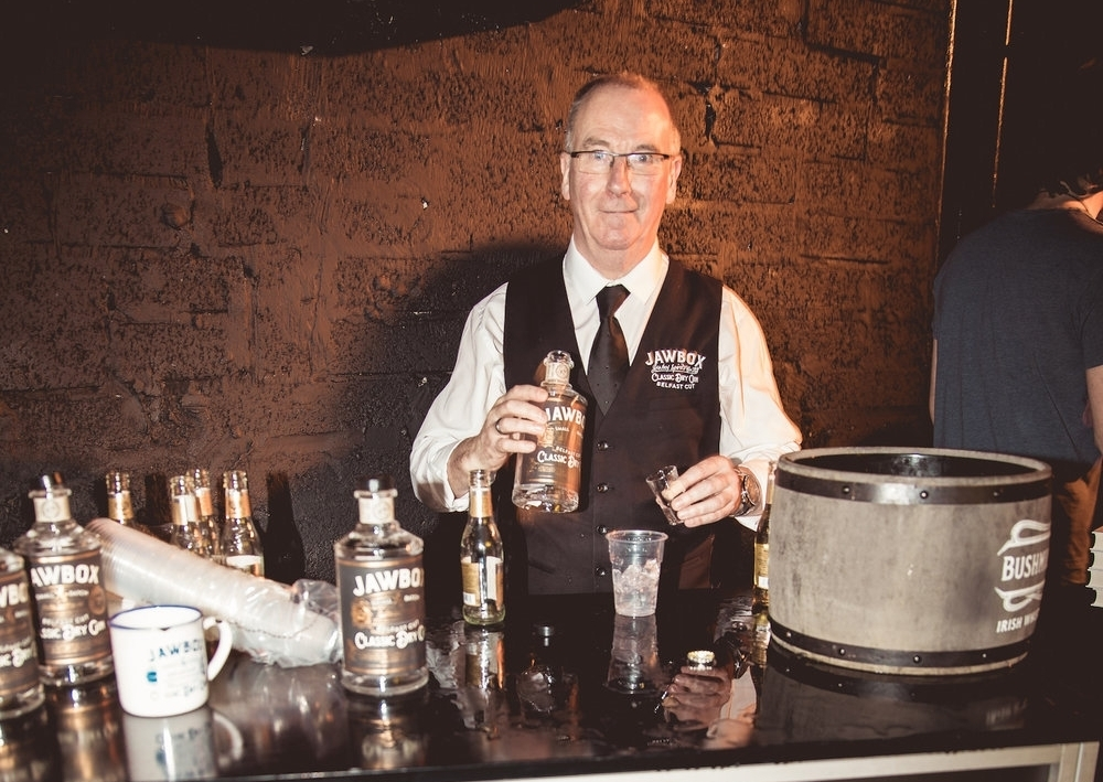 Gerry, the founder of  Jawbox Gin  sampled his wares with a grateful Belfast audience of mums