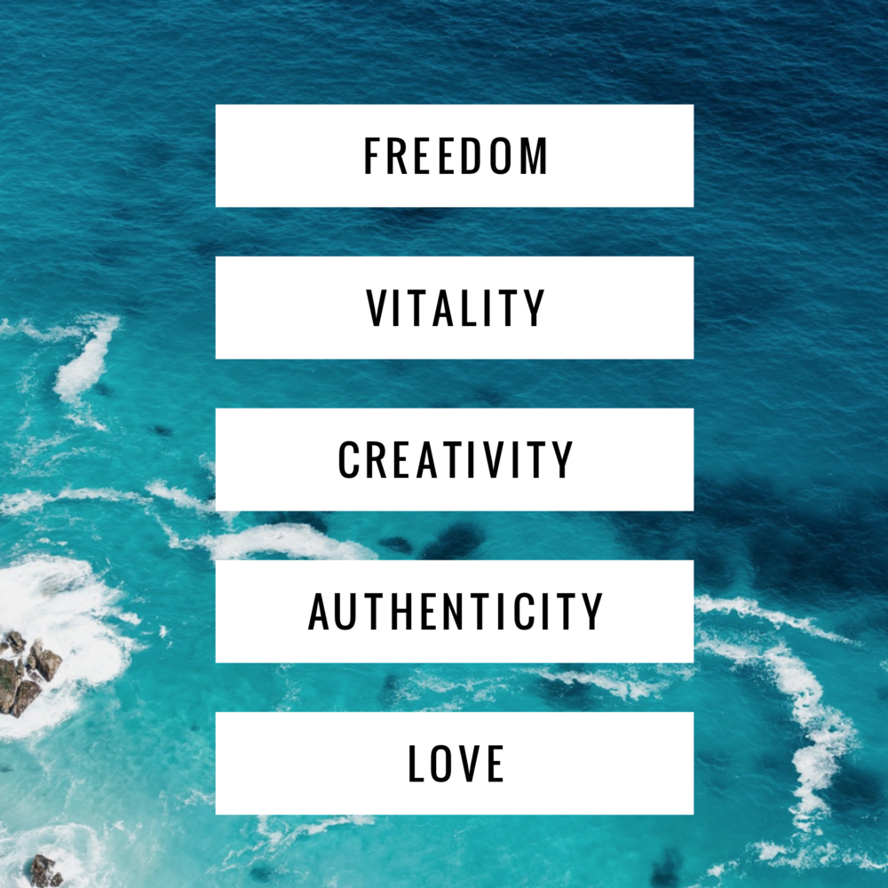 These are my highest values - When I honour them, I'm fulfilled, happy and at peace