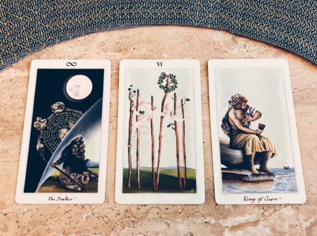 The Seeker, Six of Wands & King of Cups from the Pagan Otherworld Tarot Deck by Uusi.
