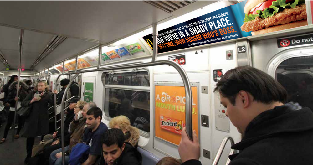 Subway car ad