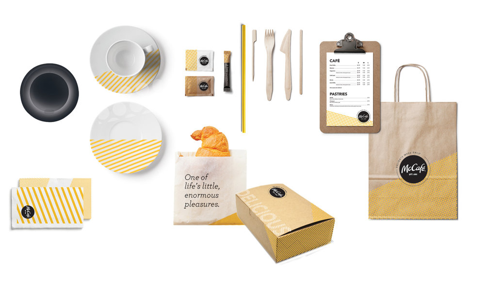 I had a lot of fun making the the full packaging suite for this - everything from napkins to coffee carriers. The goal was to keep it fresh, modern and in line with McDonald's current global packaging, but still familiar to longtime customers by making the golden arches yellow a prominent color.