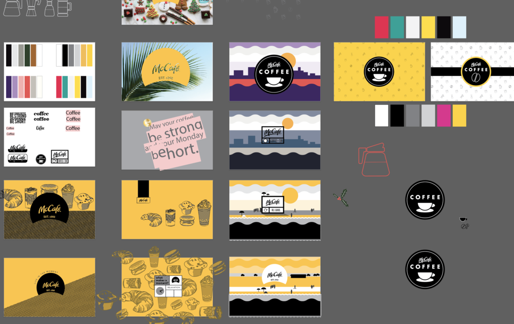 This was probably the third or fourth set of artboards. Everything from flat colorblocked illustrations to hand-drawn muffins to photography. The lower left design was the jumping off point for what was to come.