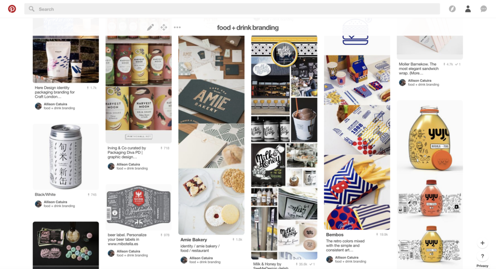 I keep a running Pinterest board specifically for food and drink branding and packaging. I like seeing how people create systems and build narratives with food brands in particular. It came in pretty handy on this project and I pulled a lot of inspiration from it.