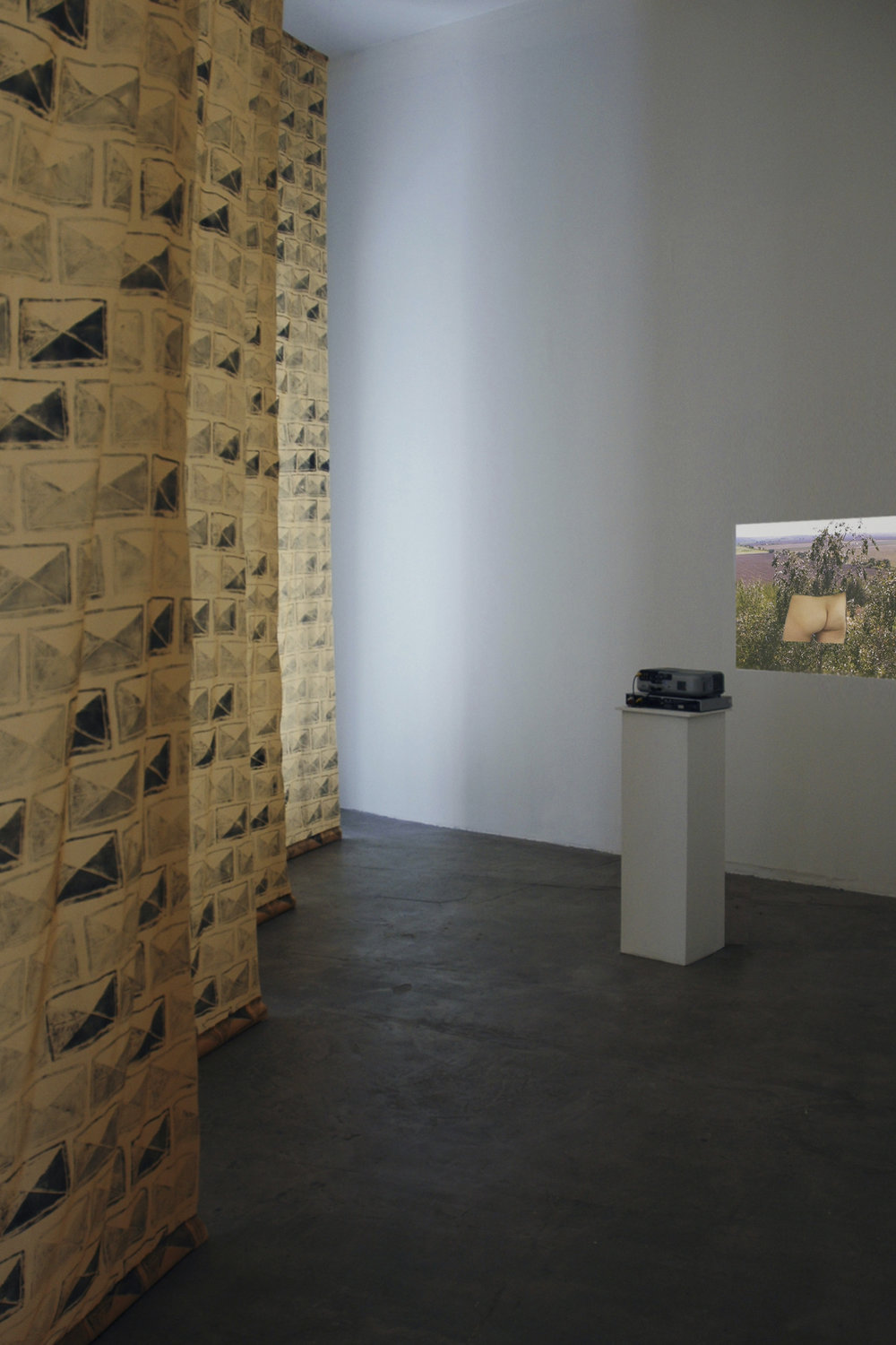 A Romance in Two Parts    Exhibition view Galeria Magda Bellotti, Madrid   From left,  Between us  (ceramic block-print onto fabric);  Testpiece I  (video projection)   2012