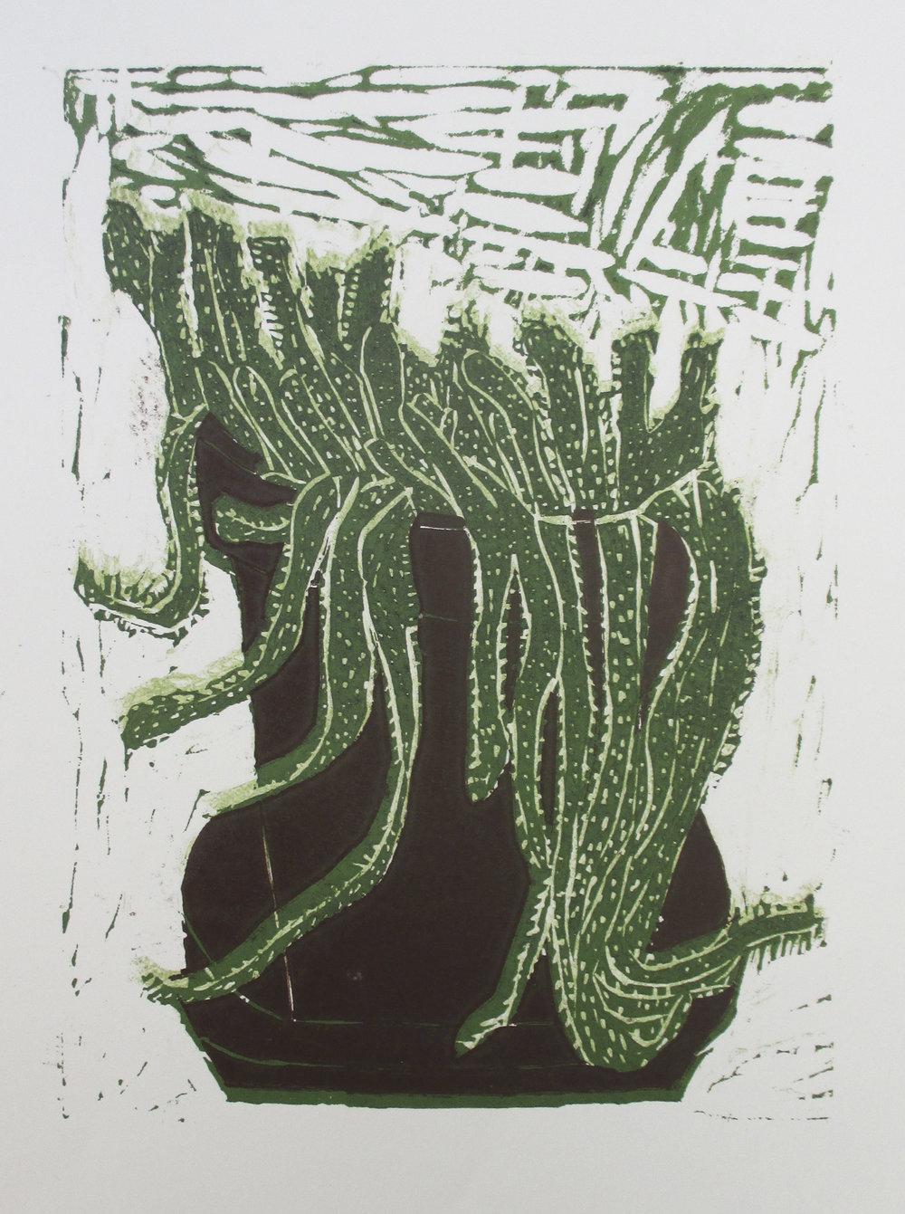 Christmas Cactus   Lino Print on Acid free Ken Cartridge 190gsm  29.7 cm x 42 cm  Edition of 20  2013