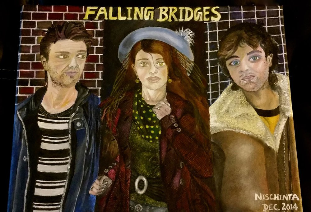 Falling Bridges - OIL ON CANVAS. DEC. 2014This painting is a poster-style fun teaser for the upcoming novel, 'Victims for Sale' originally titled 'Falling Bridges.' The artwork offers a visual representation of the book's lead characters.