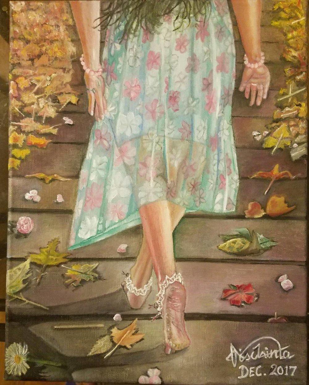 BAREFOOT ACROSS THE BRIDGE - OIL ON CANVAS. DEC. 2017Sometimes, we are challenged to leap off our comfort zones. Sometimes, we need to kick off our shoes and tread barefoot towards an unknown destination, taking it one tiny step at a time across the bridge to our truth, our destiny. So, let's take in the vagaries of this unknown journey and prepare to go barefoot as we rediscover ourselves and embrace who we really are. This process of purging, surrender, renewed insight and achieving wholeness within may sometimes be catalyzed by a twin flame dimension of consciousness and is not necessarily tied to externalities.