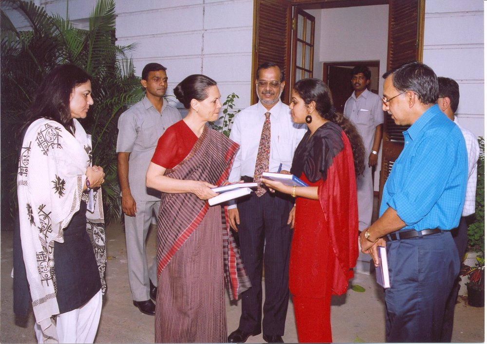 AT THE RESIDENCE OF SONIA GANDHI. NEW DELHI. 2005 - Presenting the first copy of my debut book, The Voyage to Excellence, to political leader SONIA GANDHI at her residence on 10 Janpath.