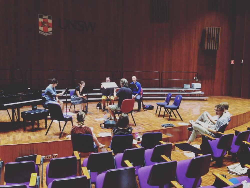 Workshopping 'Stāvi Stīvi, Ozoliņ' with The Song Company in 2017