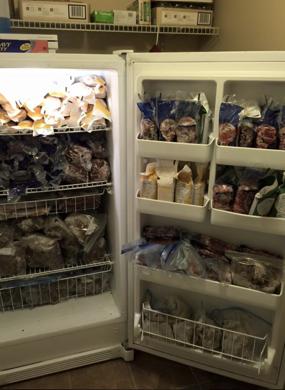 One of my three freezers, chalk full of raw meat for my dogs!
