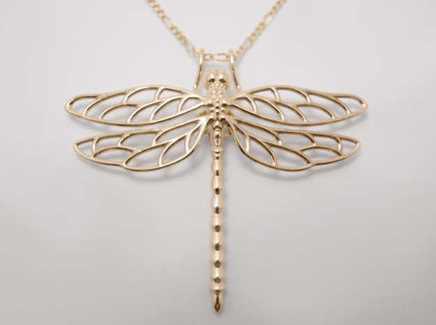 Dragonfly, Polished Brass, 3D Printed Pendant, 2017.