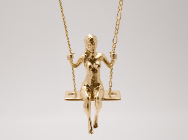 Girl on a Swing, Polished Brass, 3D Printed Pendant, 2017.