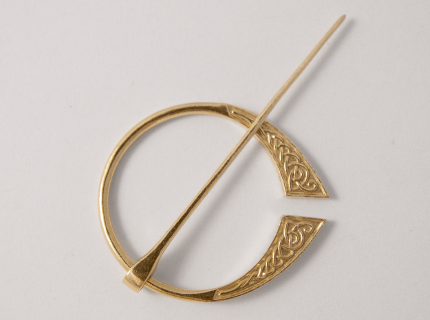 Celtic Penannular Brooch, Raw Brass, 3D Printed Brooch, 2017.