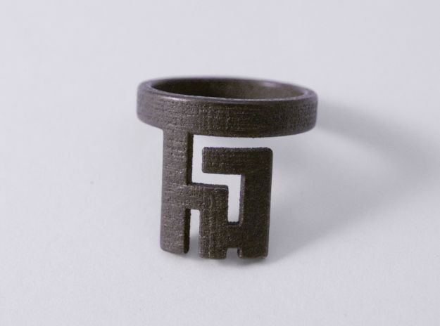 Roman Ring Key, Polished Grey Steel, 3D Printed Ring, 2017.