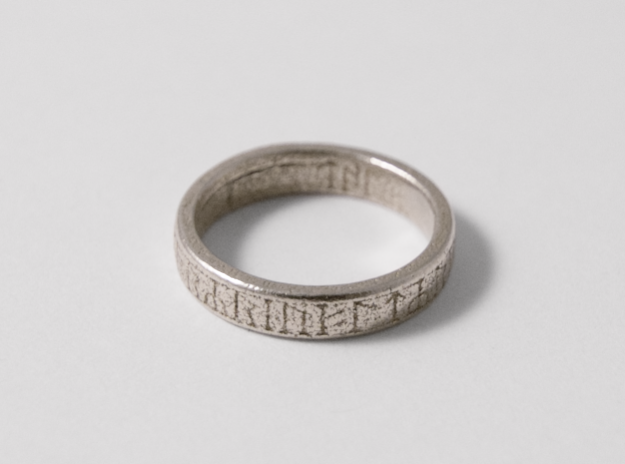 Saxon Runic Ring, Stainless Steel, 3D Printed Ring, 2017.