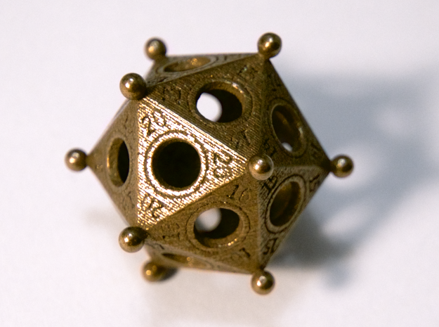 Ancient Roman d20, Polished Bronze Steel, 2018.