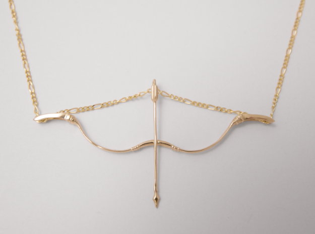 Recurve Bow, Polished Brass, 3D Printed Pendant, 2018.
