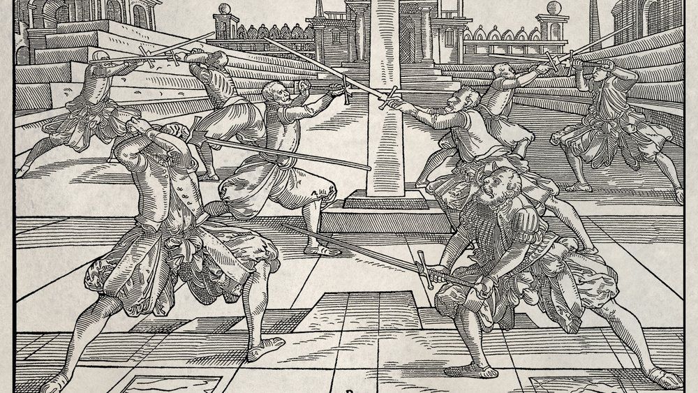 "From the german fencing master Joachim Meyer's Manual, ""The Art of Combat."" Meyer was so dedicated to his martial arts that he bankrupted himself making this book in order to help preserve it."