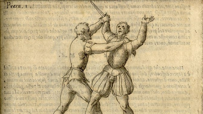 "From the bolognese fencing master Achille Marozzo's ""The Art of Arms."" His previous work,   ""Opera Nova,"" is a critical piece of martial heritage. He taught everything from the longsword, to shield and spear, to grappling, to dagger (above)."
