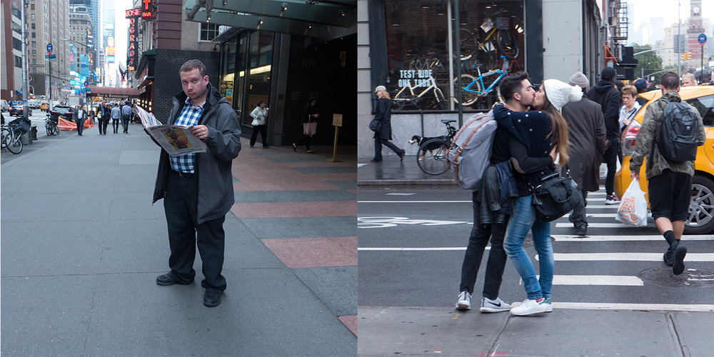 Man on 7th Avenue/Couple on 6th Avenue